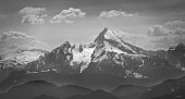 Famous Mount Watzmann, Bavaria, Germany, in black and white on a summer day