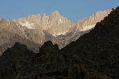 Mount Whitney the tallest peak in the continental US at 14494 feet stands in the Sierra Nevada Mountains which carry less snow than normal on May 9...