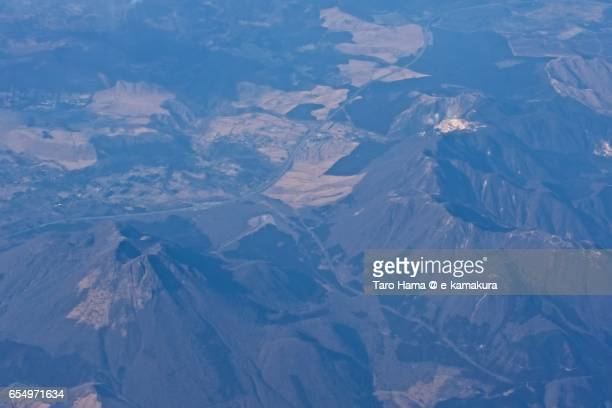 Mount Yufu and Tsurumi, daytime aerial view from airplane