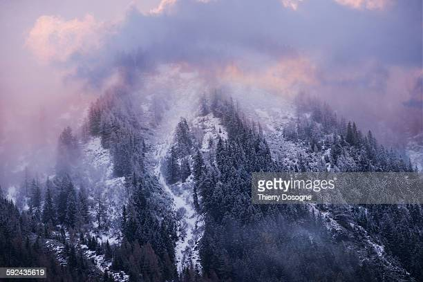 Mountain alps in clouds
