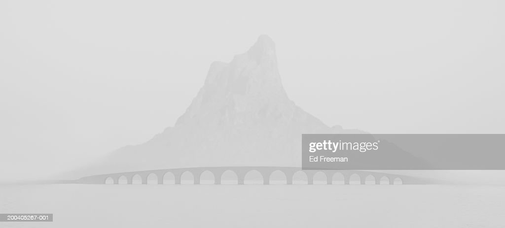 Mountain and bridge, fog (digital composite)