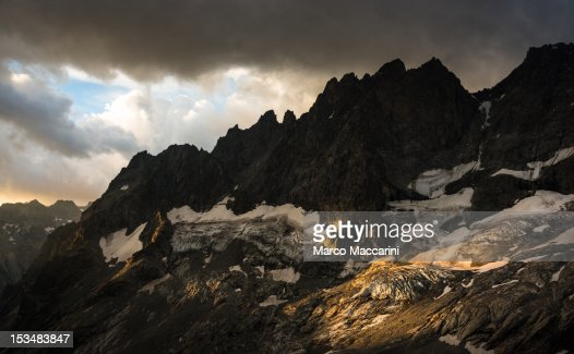 Mountain and Glacier at Sunset : Stock Photo