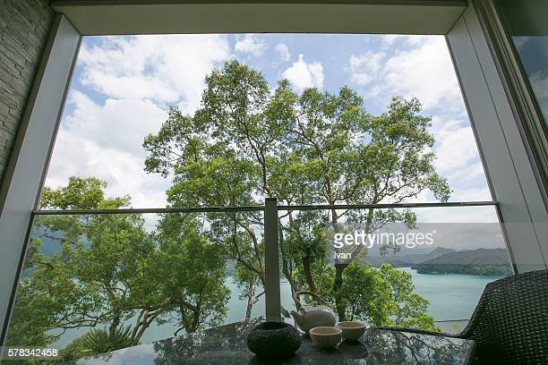 Mountain and Lake View with Chinese Tea Pot From Balcony
