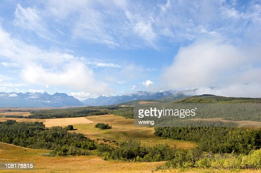 Mountain and Rangeland Panoramic in Alberta foothills