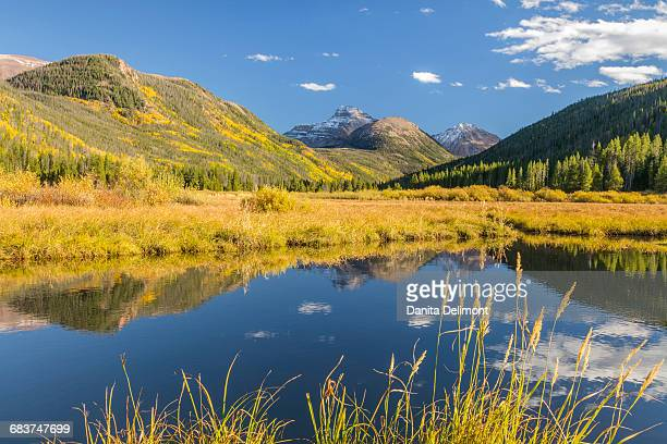 Mountain and river landscape, Uinta Mountains, Wasatch Cache National Forest, Utah, USA