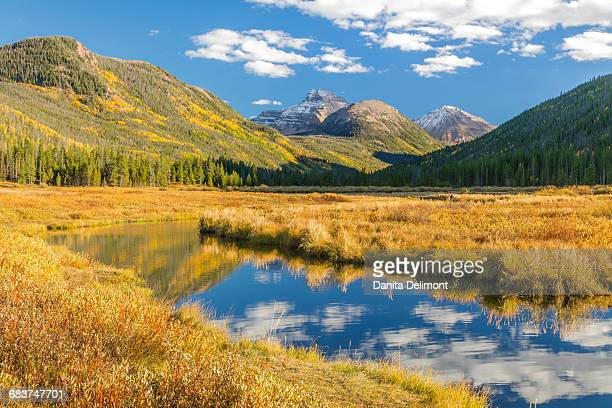 Mountain and river landscape, Wasatch Cache National Forest, Uinta Mountains, Utah, USA