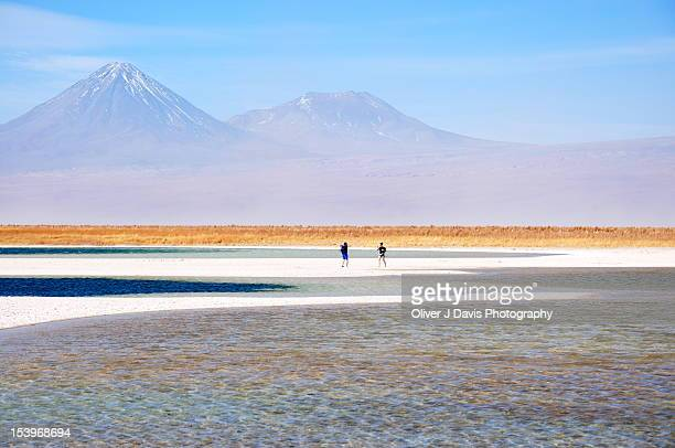 Mountain and salt lagoon landscape