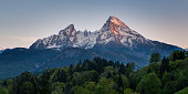 View of a giant mountain at sunset (Alps, Germany)