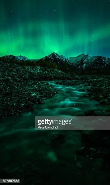 Mountain aurora borealis