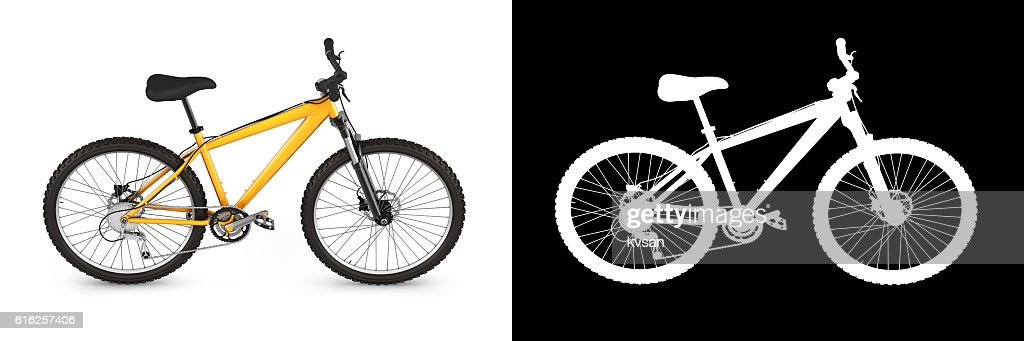 mountain bike isolated on white background with alpha 3d render : Foto de stock