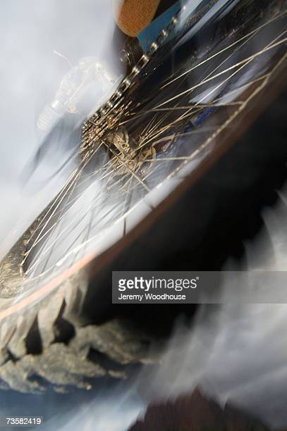 Mountain bike, low angle view (blurred motion)