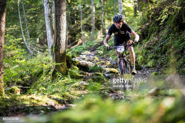 Mountain Biker Christophe Bassons from team 'Team Mag Aviron' competes during the Redbull Elements on September 23 2017 in Talloires France