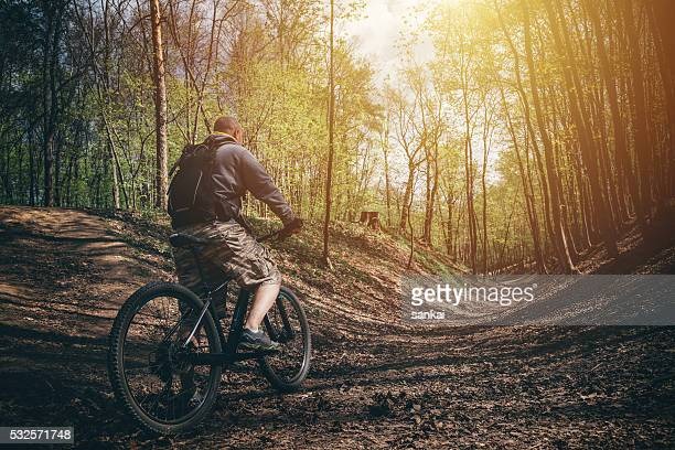 Mountain biker in a forest