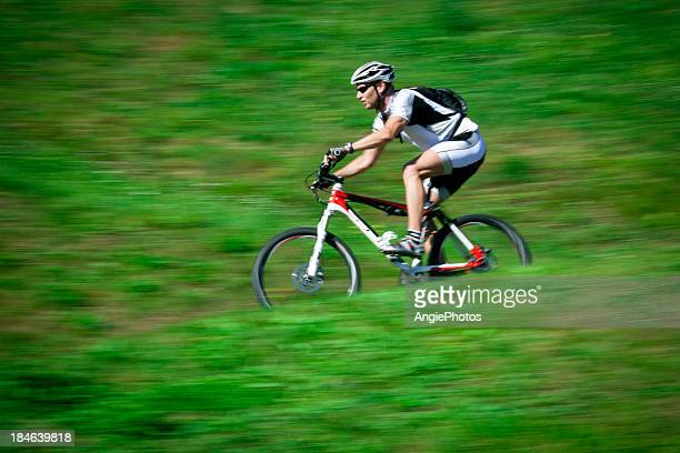 Mountain biker in action