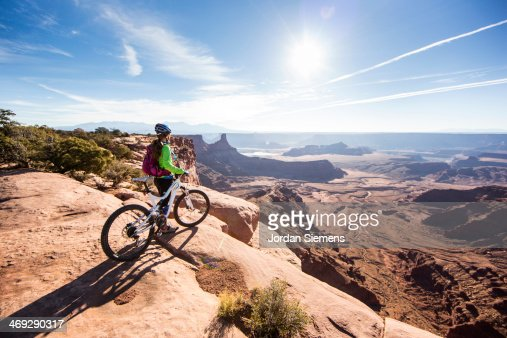 Mountain biker on top of a cliff
