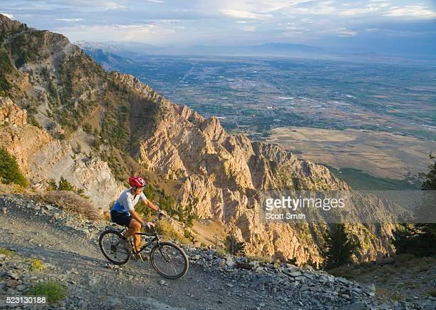 Mountain biker on trail on Willard Peak in the Wasatch Range