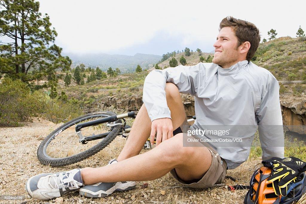 Mountain biker resting