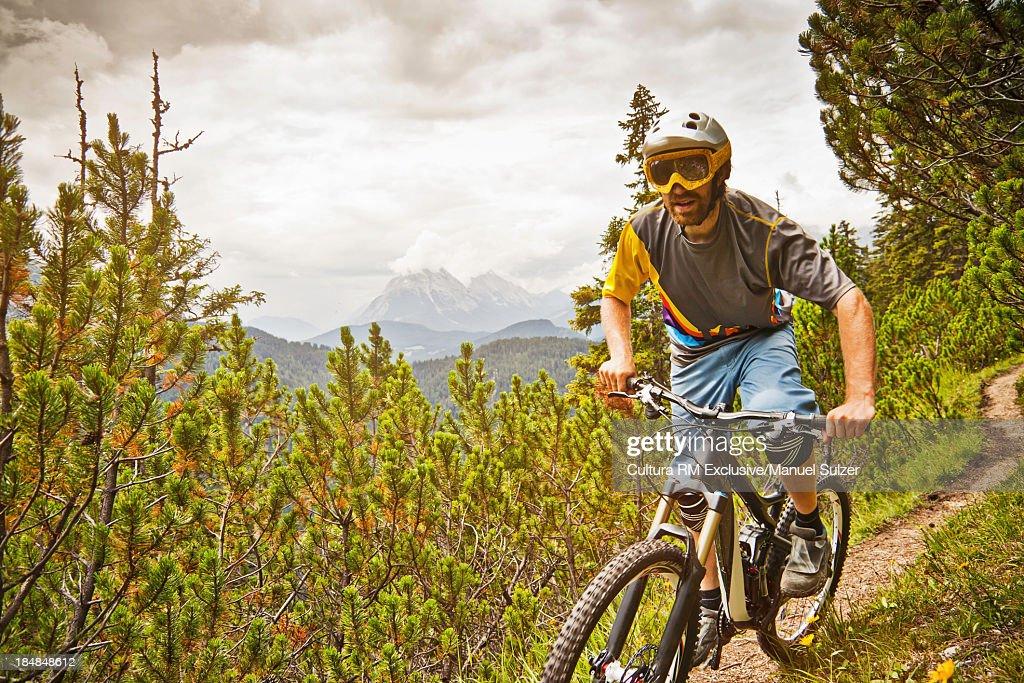 Mountain biker riding dirt path : Stock Photo