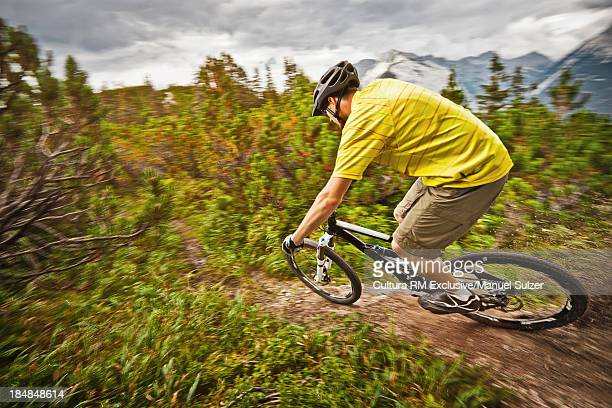 Mountain biker riding down dirt path
