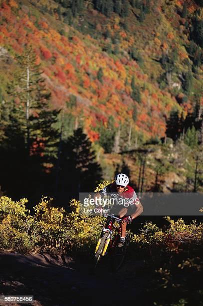 Mountain Biker Riding up Hill