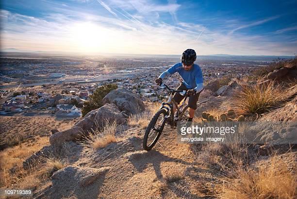 mountain biker sunset landscape