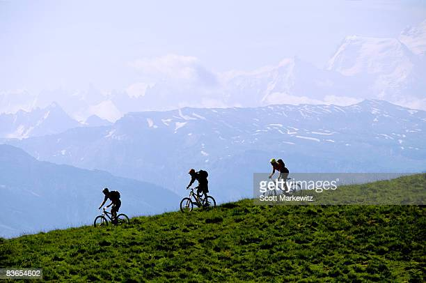 Mountain bikers in Morzine, France.