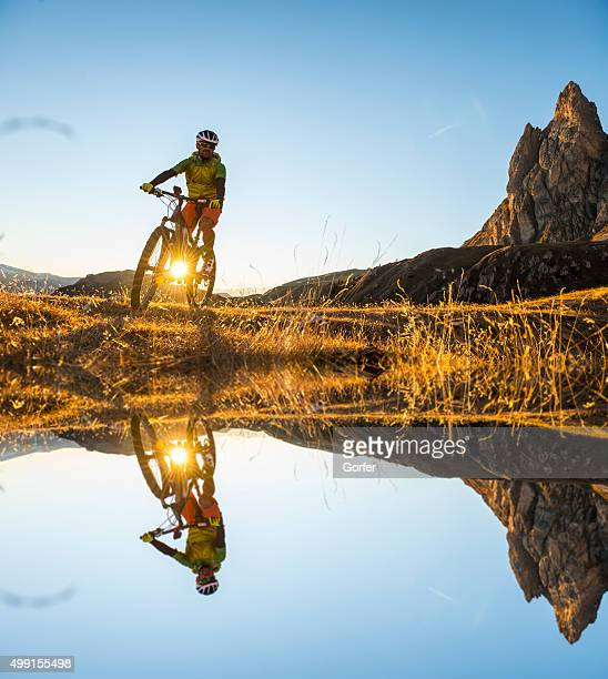 Mountain bikers on the lake