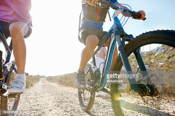 Mountain bikers riding in remote area