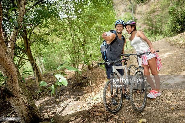 Mountain bikers taking a selfie