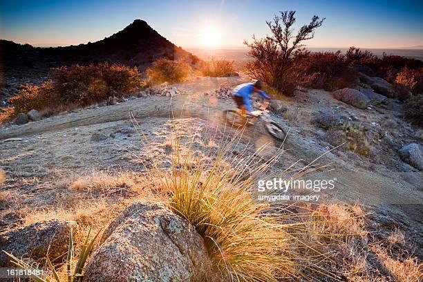 mountain biking sunset landscape