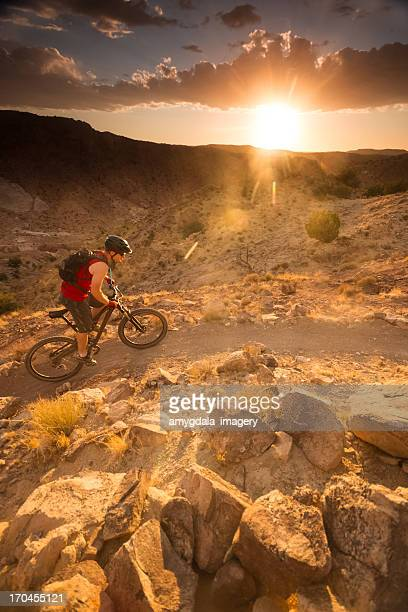 mountain biking sunset landscape