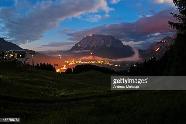 Mountain bonfires during solstice in Tyrol, Austri