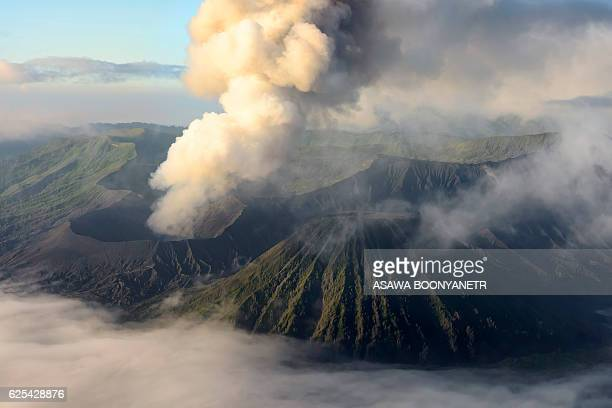 mountain Bromo volcano active with beautiful mist