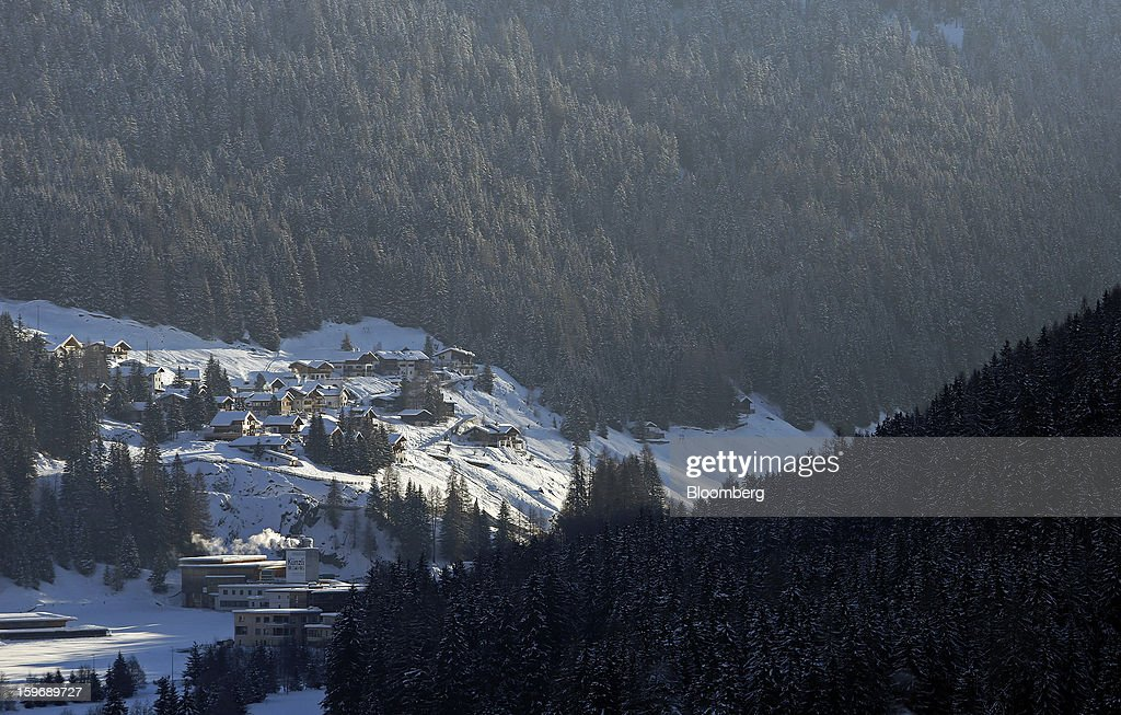 Mountain cabins are seen on a hillside on the outskirts of Davos, Switzerland, on Friday, Jan. 18, 2013. Next week the business elite gather in the Swiss Alps for the 43rd annual meeting of the World Economic Forum in Davos, the five day event runs from Jan. 23-27. Photographer: Chris Ratcliffe/Bloomberg via Getty Images
