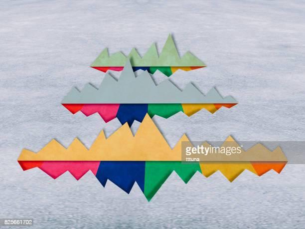 cartas de la montaña, estilo de corte de papel