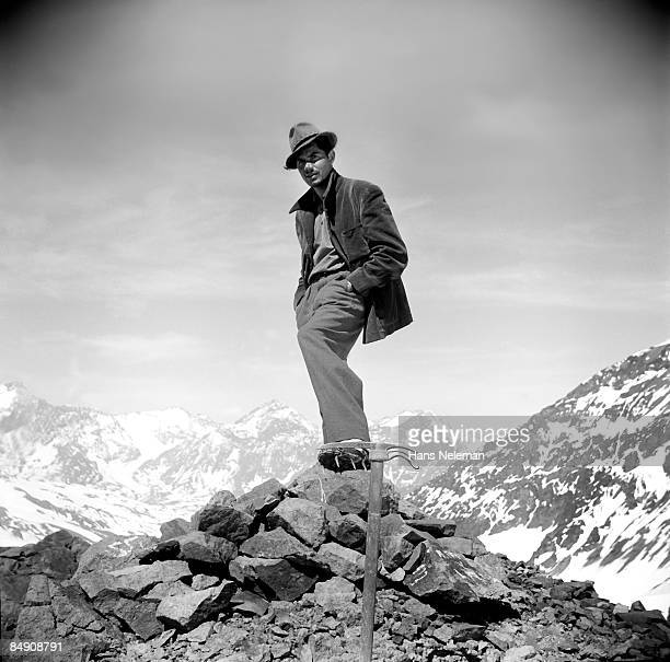 Mountain climber standing on a mountain
