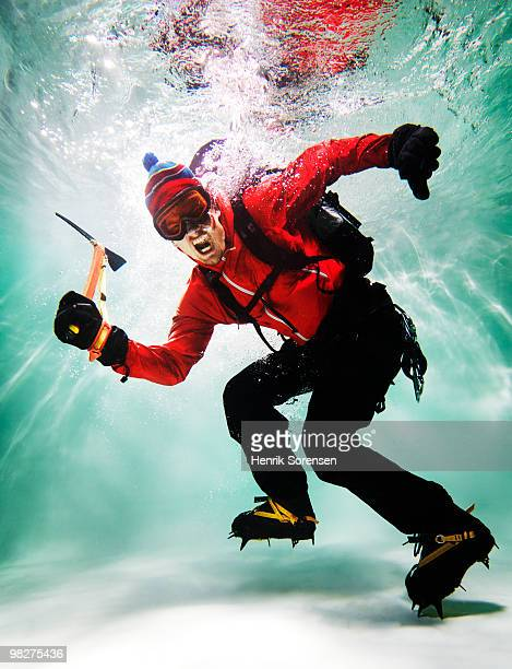 Mountain climber underwater