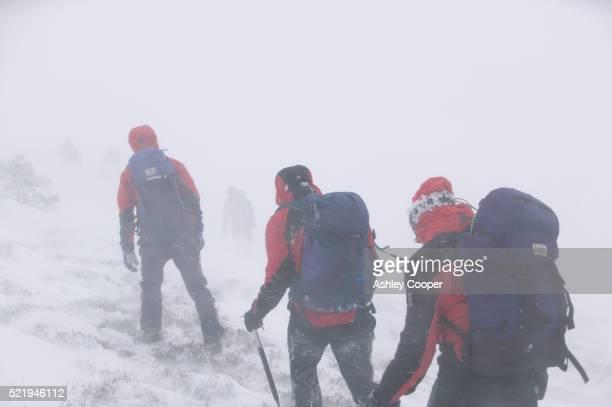 Mountain Climbers Hiking Through a Blizzard