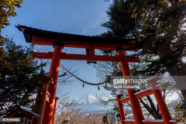 Mountain Fuji view form  Chureito pagoda ( red pagoda ) . Fujisan, Fuji mountain. Fuji mountain is one of the well known symbol of Japan.