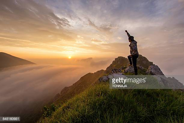 Mountain Grona summit with sunrise