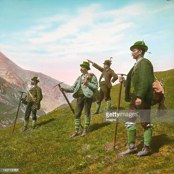 Mountain guides Grossglockner Carinthia Austria Handcolored lantern slide around 1910