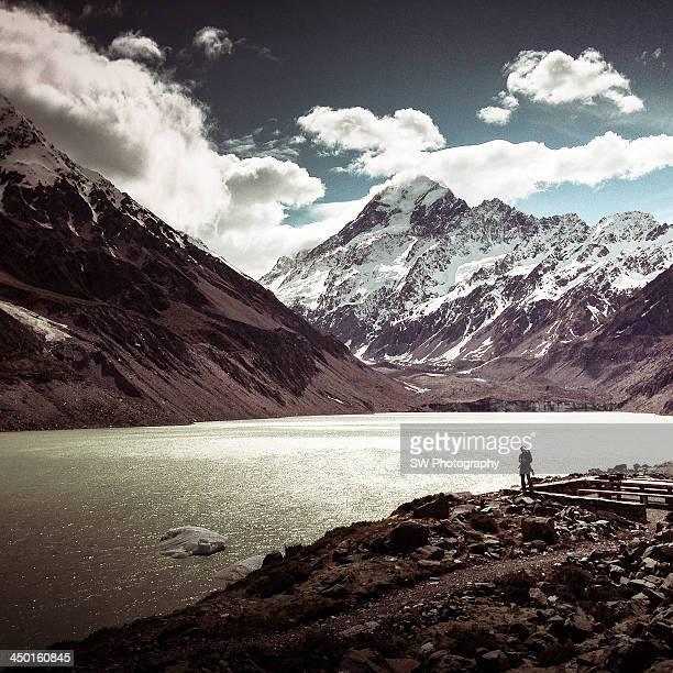 Mountain Hiker by Hooker Lake, New Zealand