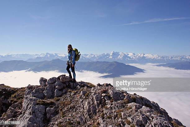 mountain hiker on top of the mountain