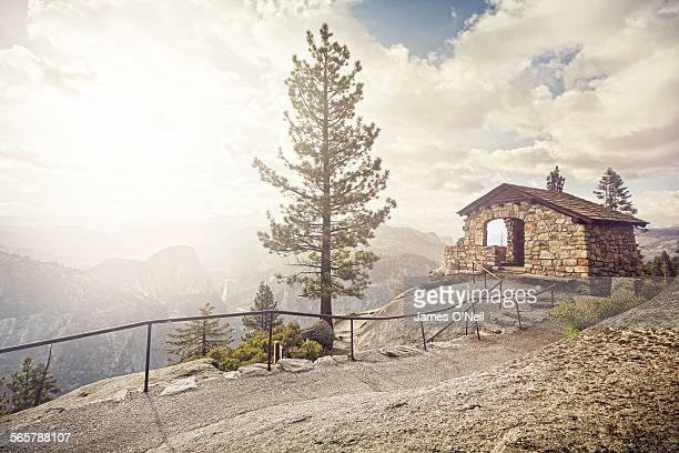mountain hut and path