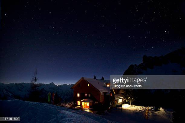 Mountain hut at night