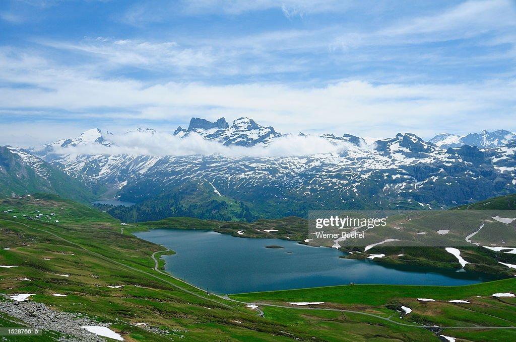 Mountain lake in Swiss Alps : Stock Photo