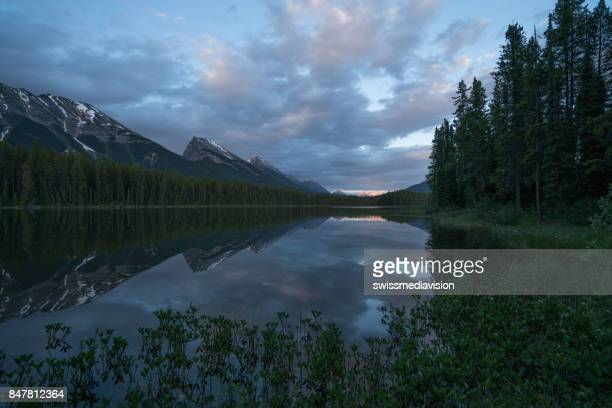 Mountain lake landscape in Canada at dusk