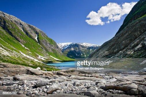 Mountain landscape and glacier lake