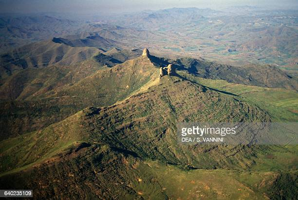 Mountain landscape near Semonkong aerial view Maseru District Lesotho