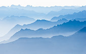 Switzerland, Appenzell, Saentis, View of multi-layered mountain landscape